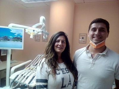 Nadine and her dentist after her dental treatment