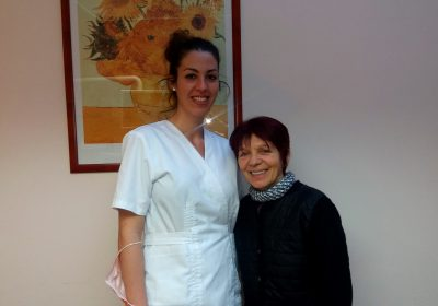 Nicole with her cosmetic dentist, Elena at MDental Clinic Hungary