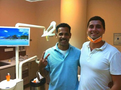 Manuel Tovar and his oral surgeon after his first visit finished